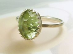 Rose cut Peridot Ring WANT.