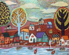 Shoreline CANVAS Houses Boats Sea Lake PAINTING 20x16 ABSTRACT FOLK ART Karla G..just added to store, for sale now... #FolkArtAbstractPrimitive