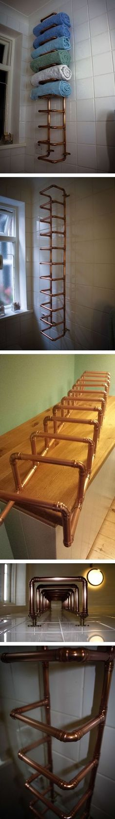 How to make copper pipe towel rail for bathroom step by step DIY tutorial instructions How to make copper pipe towel rail for bathroom step ...