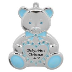 Teddy Bear Baby Boy 1st Christmas Ornament. Find seasonal decorations at Target.com! Decorate your tree with this sophisticated harvey lewis silver-plated baby boy's first christmas ornament made with swarovski elements. the blue and silver teddy bear will add elegance to your tree. it also makes a memorable gift for loved ones and special people in your life. it is dated 2012 to commemorate a special holiday season.. Price: $8.00