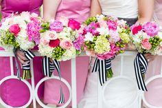 shades of pink. dresses by Lela Rose #bouquet #bridesmaid #dress #black #white #spring #wedding @Lela Johnson Johnson Johnson Rose