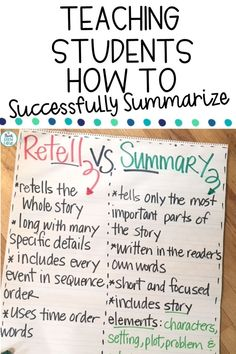 Looking for fun ideas and picture book lessons to teach summary writing to your students? The reading comprehension strategy of summarizing is a tricky one for students to grasp, this summarizing less Reading Lessons, Writing Lessons, Teaching Writing, Student Teaching, Writing Tips, Writing Strategies, Teaching Tips, Reading Goals, Kindergarten Writing