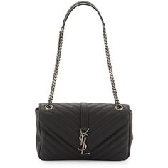Saint Laurent Monogram Small Leather Flap Shoulder Bag (9.785 BRL) ❤ liked on Polyvore featuring bags, handbags, shoulder bags, black, shoulder bag purse, shoulder handbags, quilted chain shoulder bag, shoulder strap handbags and quilted shoulder bag