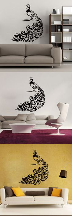 New Living Room Animal Wall Decal Art Vinyl Removable Peacock design Wall Stickers DIY Creative Home Decor $8.98
