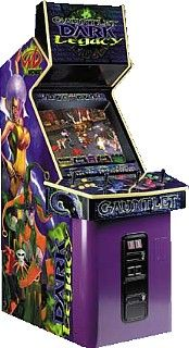 2000: Gauntlet Dark Legacy by Midway Games. Look at this cabinet...just great artwork and colors. Similar to the previous games in this series. The designers have made each of the eight realms extremely deep and complex. Each realm has its unique challenges, from fire-breathing dragons to fang-toothed goblins to maniacal boss monsters. Clic for gameplay video.