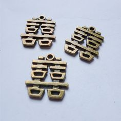 5 pcs Chinese characters Double Happiness Diy accessories 22mm vintage alloy antique brass pendant craft necklace accessory. $4.83