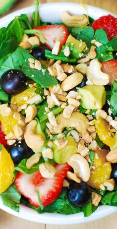 Strawberry Spinach Salad, with Blueberries, Mango, Avocado, and Cashew ...