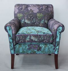 Salon Chair in Lavender Vine by Mary Lynn O'Shea: Upholstered Chair available at www.artfulhome.com