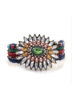 Ethnic Weaving Bracelet with Gem and Rhinestone Flower [FWBJ00243]- US$ 14.99 - PersunMall.com
