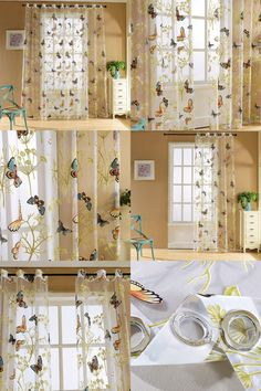 [Visit to Buy] 2017 Tropical Floral Print Semi Sheer Curtains Printed Butterfly For   Bedroom Kitchen Curtain Printed Sheer Voile Curtains #Advertisement