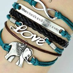 Retro Romantic LOVE Elephant Letters Multi-layers Bracelet from lilystyle