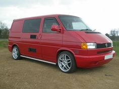 T4 camper in RED Vw Bus, Volkswagen, Vw T4 Transporter, T4 Camper, Red Vans, Camper Conversion, Electrical Wiring, Happy Campers, Cars And Motorcycles