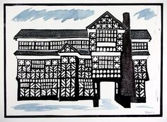 """""""Little Moreton Hall"""",  hand coloured relief print  by Silas Clifford-Smith"""