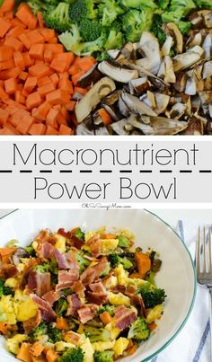 Macronutrient Power Bowl, the perfect recipe for breakfast, lunch, or dinner. This Bacon and Egg macro bowl is loaded with sweet potatoes, broccoli, and mushrooms. It is clean eating approved, gluten-free, and man is it delicious! #ad #GoldYolkHappyHen #TrueFreeRange