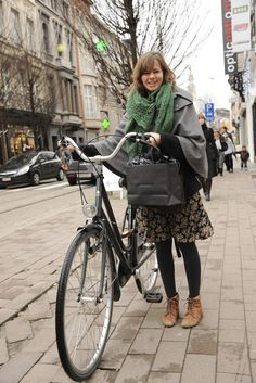 a bike, a cape, and awesome ankle boots in antwerp