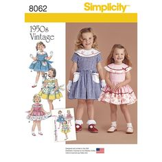Vintage 1950s dress for Toddler and Child. Dress A has contrast collar and pockets with soutache trim, Dress B and C with contrast at collar and skirt edge, finish with delicate touches of trim. All have sash bow-tie in back. Simplicity sewing pattern.