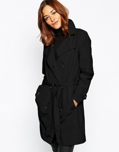 $64, Black Trenchcoat: Vila Classic Trench Coat. Sold by Asos. Click for more info: https://lookastic.com/women/shop_items/203445/redirect