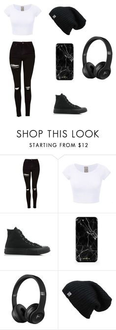 """⚪⚫"" by valeriecolemann ❤ liked on Polyvore featuring Topshop and Converse"