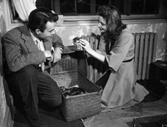 James Mason and his wife Pamela with a basket full of kittens :)