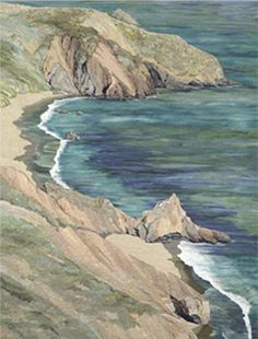 """Marin Headlands by Merle Axelrad Serlin.  This is truly a quilt, and price is 25 thousand for 36 x 48""""."""