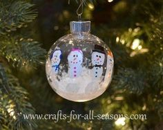 Super cute ornament.  This would be a great gift to give parents from a teacher.  Paint the kids hands and have them print them on an ornament, and decorate with Sharpies.  Full tutorial at Crafts For All Seasons.