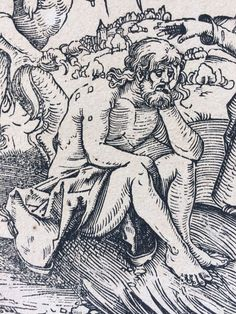 De verleiding van Job, door Albrecht Dürer 1509 - 15.7 x 12.1 cm. Used and made as book illustration by Ulrich Pinder's 'Speculum Patientie' (Nuremberg-1509) (comparable Rijksmuseum), in a later, probably 17th century, print with addition of the monogram of Dürer. (comparable British Museum 1867,0713.108). It is in good condition and has several monograms of previous owners (see photo) on back of the print. Provenance is also provided on the back of frame/passe-partout, which...