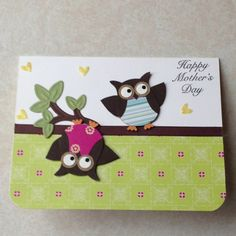 Mothers day card with SU owl punch