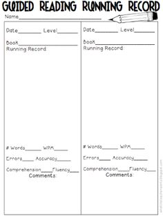 Here is another way to record running records for guided reading groups! Guided Reading Groups, Reading Centers, Reading Resources, Reading Levels, Reading Strategies, Reading Skills, Teaching Reading, Reading Comprehension, Reading Lessons