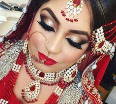 Pinterest: @pawank90 Indian Bridal Lehenga, Pakistani Bridal, Best Bridal Makeup, Wedding Makeup, Beauty Makeup, Hair Makeup, Hair Beauty, Indian Princess, Asian Bridal