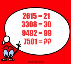 Brain teaser - Number And Math Puzzle - Puzzle with numbers - Each 4-digit number on the left equals 2-digit number on the right with a pattern for calculation. Find the result for 7501.