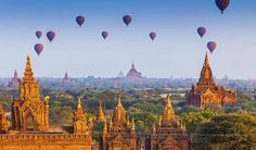 Temples in Bagan, Myanmar Burma hot air balloons 🎈 What a fairyland.Im scared to go since the ruler evaluates everyone on their Happiness Quotient. Might end up coming home with a new baby to adopt. Yangon, Mandalay, Tourist Places, Places To Travel, Beautiful Places In The World, Most Beautiful, Wonderful Places, Amazing Places, Circuit Voyage