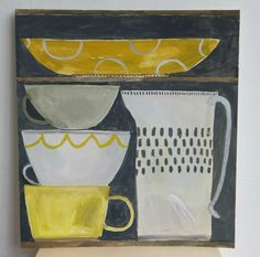 an original gouache paintinga still life work - one of an ongoing series exploring shape, colour and space.gouache on Fabriano paper on reverse, unframedpaper measure. Yellow Cups, Magazine Illustration, Book Layout, Still Life Art, Pattern Art, Surface Pattern, Sketchbook Inspiration, First Art, Minimalist Art