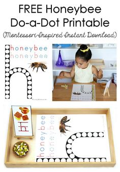 Free Montessori-inspired instant download of a honeybee do-a-dot printable; great for /h/ phonics work, writing, and/or fine-motor preschool activities.
