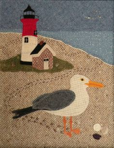 Different fabrics stitched together rather than felt or wool which is so expensive. Bits of fabric from many places thrift store, wardrobe discarded, ect. Wool Seagull with Lighthouse Wool Applique Patterns, Felt Applique, Applique Quilts, Wool Quilts, Mini Quilts, Fabric Birds, Fabric Art, Felted Wool Crafts, Bird Quilt