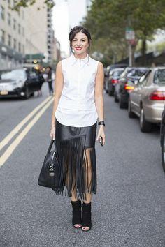 Leather fringe skirt. NYC