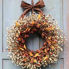 Front Door Decor, Wreaths For Front Door, Door Wreaths, Front Porch, Acorn Wreath, Pumpkin Wreath, Diy Fall Wreath, Autumn Wreaths, Wreath Ideas