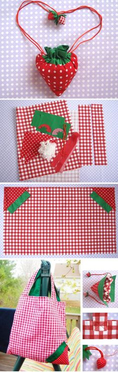 DIY Strawberry Shopper Bag Sewing Tutorial | If you love to make bags, check out…