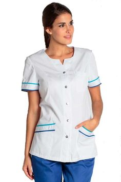 Chaqueta blanca Dyneke 8289 con adornos Medical Uniforms, Uniform Design, Scrubs, Men Casual, Mens Tops, Shirts, Outfits, Dresses, Women