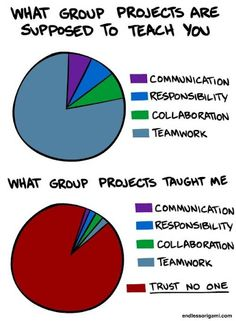 True story.  I actually wrote a 10 page research paper in college on the negative effects of groupwork among elementary aged students.  I could have used this funny pie chart as an opening during my presentation!
