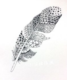 69 new Ideas drawing ideas zentangle feathers Feather Drawing, Feather Art, Feather Tattoos, Zentangle Drawings, Doodles Zentangles, Doodle Patterns, Zentangle Patterns, Tattoo Indien, Drawing Sketches