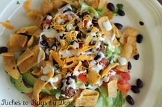 *Riches to Rags* by Dori: Fritos Taco Salad - Kid Friendly Beef Recipes, Mexican Food Recipes, Salad Recipes, Cooking Recipes, Ethnic Recipes, Mexican Meals, Veggie Recipes, Healthy Cooking, Great Recipes