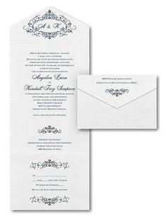 Filigree Inspiration Seal 'n Send Wedding Invitation