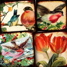 Birds & Blossoms printable squares. Each little collage has up to a dozen layers of love letters from the 1700s, Parisian engravings from 1850, and all kinds of other vintage ephemera. Printables 819 by piddix.