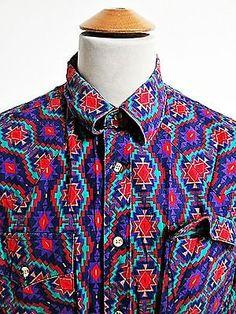 Vintage AMAZING Psychedelic Rock N Roll Pattern Cowboy Western Shirt L Large