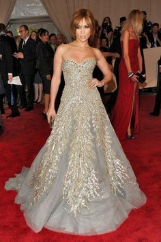 JLO  in Ellie Sab designer gown incredible use of beading detail