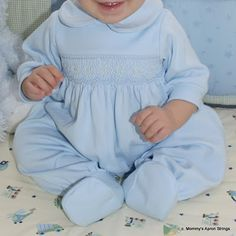 Smocked Knit Baby Romper- variation of a pattern in AS supposed to be newborn, but ran huge and fit at 7 mos!