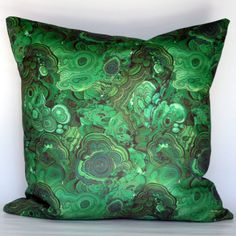 Malachite Decorative Pillow Cover - Emerald Green - CHOOSE YOUR SIZE