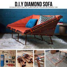 DIY couch made from off the shelf materials found at the local hardware store like copper pipe, shipping blankets, zip ties, and carpet padding Pipe Furniture, Furniture Making, Furniture Design, Diy Sofa, Diy Chair, Sofa Chair, Sofa Design, Canapé Diy, Outdoor Sofa