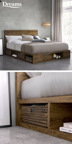 With its minimalist design and practical storage solution, the Wilkes bed frame is ideal for making the most of the space in your bedroom. bed frame with storage Wilkes Wooden Storage Bed Frame Wooden Bed With Storage, Bed Designs With Storage, Diy Storage Bed, Platform Bed With Storage, Diy Platform Bed, Bed Frame With Storage, Diy Bed Frame, Cool Bed Frames, Simple Bed Frame