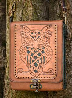 Owl Bag/ Messenger bag/ Leather bag/ Leather by LeatherJLboutique